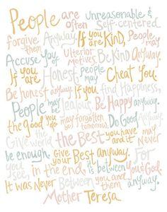 8x10-in Mother Teresa Quote Illustration Print. $25.00, via Etsy.