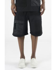 Blood Brother Fission Black Shorts With Mixed Fabrication Patches & Pockets Front Shot