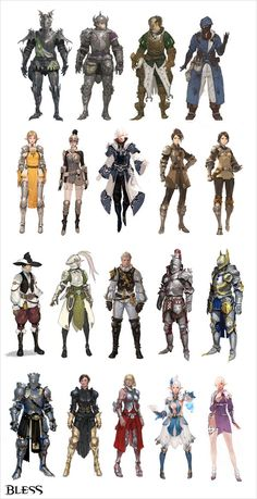 Bless - New article focuses on armour and costume designs philosophy - MMO Culture Fantasy Character Design, Character Creation, Character Design Inspiration, Character Art, Game Character Design, Fantasy Artwork, 3d Fantasy, Armadura Medieval, Armor Concept