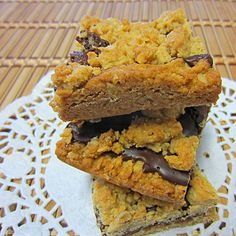 Awesome Peanut Butter Bars        1 package semisweet chocolate chips, (6 oz)      1/2 cup butter, softened      2/3 cup peanut butter      1 cup light brown sugar, packed      1 egg, beaten      1 teaspoon vanilla      1 1/4 cups all-purpose flour      1/2 teaspoon baking soda      1/4 teaspoon salt      1 1/2 cups oats, quick cooking