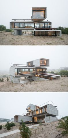 Architect Luciano Kruk designed a house made of three stacked forms of rough…