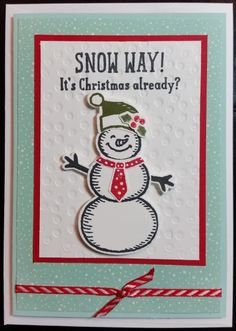 Christmas Card - using all Stampin' Up! products including Snow Place Stamp Set and matching Dies, Home for Christmas DSP, CS & Striped Ribbon