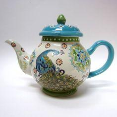 Dutch wax peacock teapot by Coastline Imports