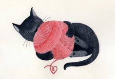 Black cat red yarn cute illustration children decor - The cat print 8 x 11.5  print of an original illustration. $22,00, via Etsy.