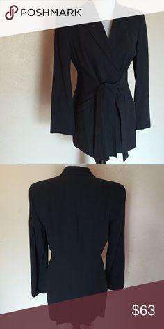 Vintage Giorgio Armani Blazer Cotton linen blend tie in front single button closure Giorgio Armani Jackets & Coats Blazers