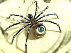 365 SPIDERS: #342: Mad-Eye Moody Spider Beaded Crafts, Beaded Ornaments, Wire Crafts, Jewelry Crafts, Jewelry Art, Beaded Jewelry, Handmade Jewelry, Pagan Jewelry, Resin Crafts