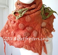 Green and Orange Nuno Felt Shawl Wrap Spring and by lizetfrijters