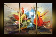 Musical pintura al óleo pintada a mano tema de instrumentos , el ...