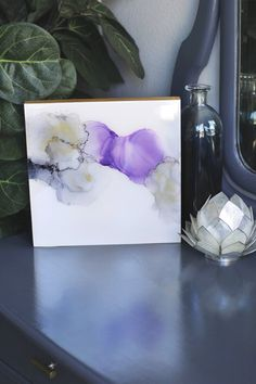 Alcohol Ink Abstract Painting Resin Handmade Purple and