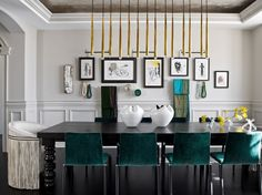 For the requisite pop of color, dining chairs by Roche Bobois are upholstered in emerald green velvet and evoke the sex appeal of a smoky, late-night lounge.