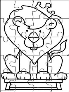 Printable jigsaw puzzles to cut out for kids Animals 245 Coloring Pages Color Puzzle, Puzzle Art, Puzzle Piece Crafts, Puzzle Pieces, Jungle Animals, Animals For Kids, Coloring For Kids, Coloring Pages, Animal Puzzle