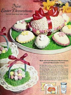 Easter Decorations made with Kraft Miniature Marshmallows & Marshmallow Creme, April 1962