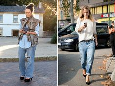Spotted: Baggy Blues  -- We're all about loose fitting jeans these days – not your standard boyfriend jeans but ones of the baggier variety. There is just an undeniable cool factor to them. And for the naysayers afraid of looking frumpish? It's all about cuffing your denim and pairing them with some heels / Sept 4 '14