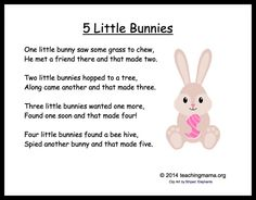 5 Little Bunnies Chant- fantastic easter song and also,  great for practicing counting!