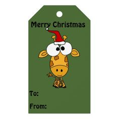 Adorable Giraffe in Santa Hat Christmas Gift Tags #giraffes #gifttags #Christmas #funny And www.zazzle.com/tickleyourfunnybone*