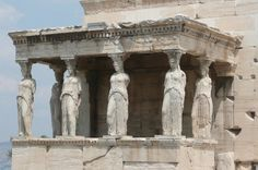 "Mnesicles (architect) and Phidias (sculptor/mason), ""Porch of the Maidens"" on the south face of the Erechtheion ionic temple, constructed 421-406 BC, Athens, Greece."