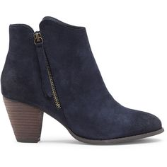 Sole Society Justina Zipper Pull Bootie ($60) ❤ liked on Polyvore featuring shoes, boots, ankle booties, navy, leopard print booties, leopard print ankle boots, suede ankle booties, stacked heel booties and navy ankle boots