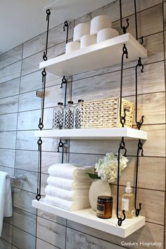 Just one of the great ideas I saw in the HGTV Austin 2015 Smart home tour! Just one of the great ideas I saw in the HGTV Austin 2015 Smart home tour! Just one of the great ideas I saw in the HGTV Austin 2015 Smart home tour! Rustic Bathroom Decor, Home Diy, Bathroom Decor, Shelves, Trendy Bathroom, Bathrooms Remodel, Bathroom Makeover, Bathroom Design Decor, Toilet Storage