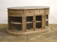 Oval Island With Bluestone Top, custom wood finish, custom paint finish, transitional style, restoration style