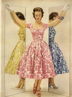 theniftyfifties:    Summer floral dresses for Glamour magazine, April 1954.    Wow, this is clearly the dress-piration for the Evelyn dress from Pinup Girl Clothing!