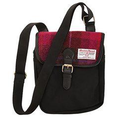 Harris Tweed Authentic Premium Buckle Up Shoulder/Messenger Bag (One Size) (Cerise) Camping Rucksack, Outdoor Backpacks, Shoulder Bags For School, Tweed Blazer, Harris Tweed, Wash Bags, Travel Bag, Messenger Bag, Shoulder Strap
