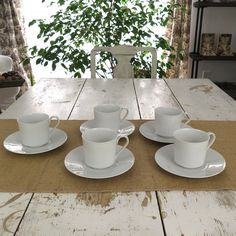 Five tea cups with saucers were made by Block in Chateau Blanc pattern, designed by Raymond Loewy. This pattern has been discontinued. The white tea cups and saucers are sleek and modern looking with