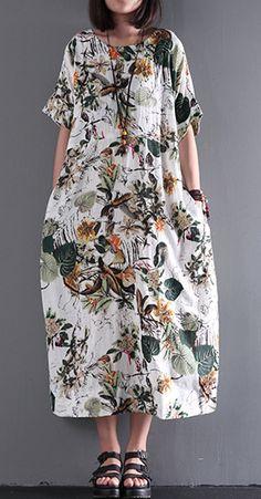 2017 new summer maxi dress print linen dresses plus size sundress