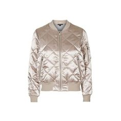 TopShop Shiny Quilted Bomber ($86) ❤ liked on Polyvore featuring outerwear, jackets, pink, pink bomber jacket, topshop, wet look jacket, flight jacket and brown quilted jacket