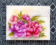 No-Line Watercoloring with Altenew Flower Stamps. Card by Kristina Werner.