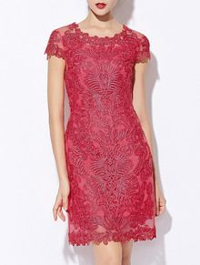 f8fa833219d4 Red Round Neck Short Sleeve Bodycon Lace Dress Μόδα