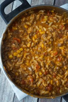 Cheesy Beef Goulash with Corn is an easy weeknight dinner recipe that takes less than 30 minutes from start to finish. This one pot dinner is loaded with diced tomatoes macaroni noodles ground beef corn and mozzarella cheese. Beef Macaroni, Macaroni Recipes, Corn Recipes, Recipes With Macaroni Noodles, Recipies, Pasta Recipes, Chicken Recipes, Beef Casserole Recipes, Goulash Recipes