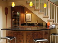Wine Glass Stairs Modern Minimalist Home Basement Bar Design After Remodel With Pendant
