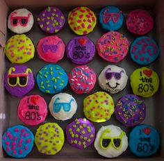 80's cupcakes! For Olivia for her 14th bday!