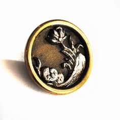 Antique Button Water Lily Brass Small  L1772d. $4.50, via Etsy.