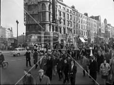 1960 - 'Ban the Bomb' Protest March London History, History Photos, Photo Archive, More Photos, Dublin, Ireland, Irish, March, Street View