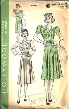 Vintage Sewing Pattern Dress Hollywood 1846