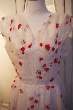 SALE 1950s novelty strawberry dress garden party by HaresAndGraces, £145.00