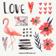Watercolor flamingo and love elements Free Vector