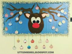 Easy Christmas Classroom Decorations you'll have to check out before you scroll up Reindeer Bulletin Boards, Christmas Bulletin Boards, Birthday Bulletin Boards, Preschool Bulletin Boards, December Bulletin Boards, Winter Bulletin Boards, Kindergarten Christmas Bulletin Board, Christmas Bulliten Board Ideas, Christmas Board Decoration