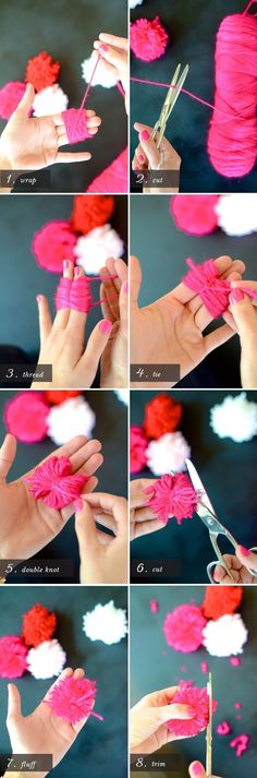DIY How to Make a Yarn Pom Pom Flower Bouquet ♥Click and Like our Facebook page♥