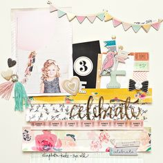 #Papercraft #scrapbook #layout. Maggie Holmes Confetti Products for Crate Paper