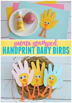 Potato Stamped Handprint Baby Birds - Kid Craft