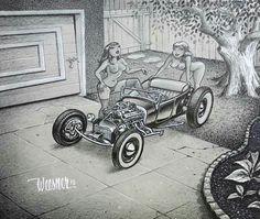Rat Fink, Garage Art, Bobber Chopper, Kustom Kulture, Automotive Art, Car Girls, Adult Coloring Pages, Ford Trucks, Hot Rods