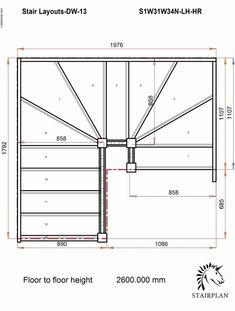 Steel Stairs, Attic Stairs, Basement Stairs, House Stairs, Small Staircase, Staircase Design, Staircase Drawing, Winder Stairs, Stair Plan