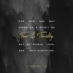 For the Spirit God gave us does not make us timid, but gives us power, love and self-discipline. 2 Timothy 1:7 NIV