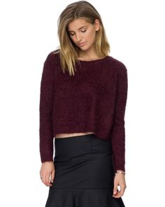 Asos Fluffy Cropped Sweater L Berry Purple Loose Collar Fuzzy Hairy Jumper NWT  #Asos #Cropped