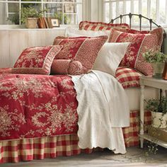 red toile bedding at DuckDuckGo Bedroom Comforter Sets, French Country House, Country Bedroom, Home, French Country Bedrooms, Bedroom Red, Country Cottage Decor, Country Bedding, Red Rooms