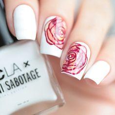 Marbled Rose Nail Art