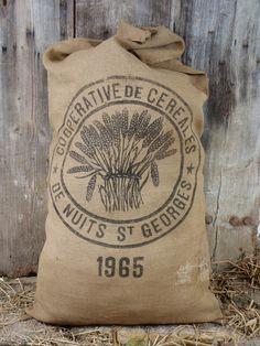 Burlap GRAIN SACK Flour Bag vintage FRENCH by simplyfrenchvintage
