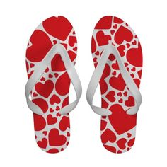 Red Hearts on White Sandals $39.95 - Red Hearts on White Sandals - by RGebbiePhoto @ zazzle - Red hearts in various sizes. Red hot lovers will appreciate these! Love and passion is defined by a red heart.